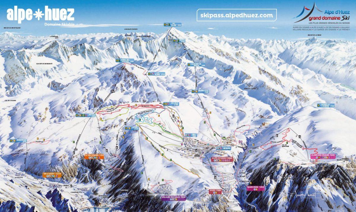 Plan des balades et ski de fond - Alpe d'Huez - Villards-Reculas