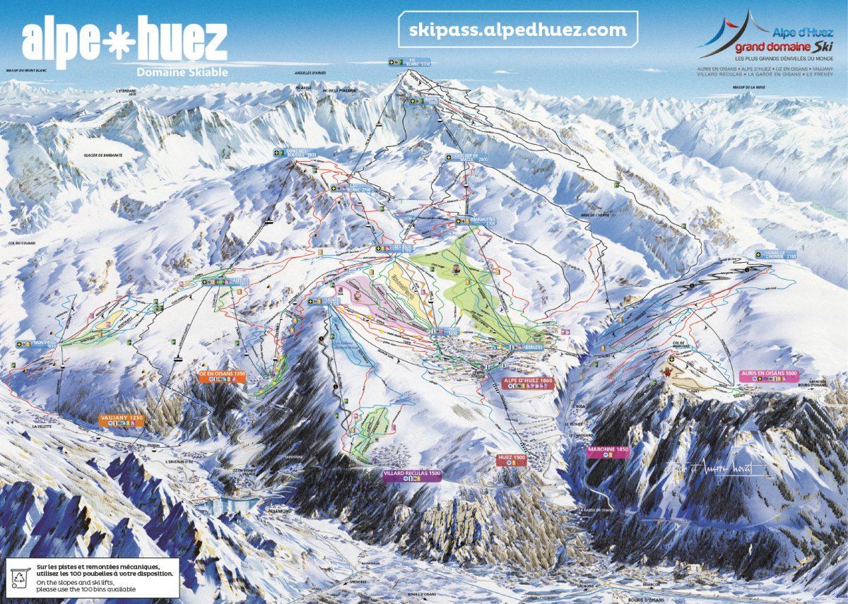 plan des pistes Alpe d'Huez Grand Domaine Ski